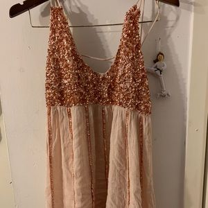 Free People Dresses - FREE PEOPLE rose gold shirt sequence dress